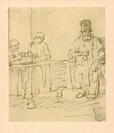 Rembrandt, zeichnung, hofstede de groot 259, Mann in einem Lehnstuhl (Arbeiter im Weinberg?)