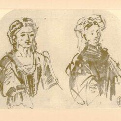 Rembrandt, zeichnung, hofstede de groot 266, Halbfiguren von zwei Frauen