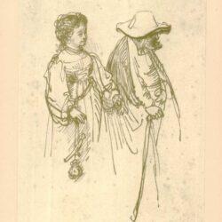 Rembrandt, zeichnung, hofstede de groot 272, Junge Frau und alter Mann