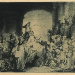 Rembrandt Etching, Bartch B. 40, The triumph of Mordechai