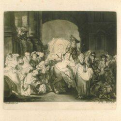 Rembrandt Etching, New Hollstein 185, Bartch B. 40, The triumph of Mordechai