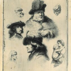 Rembrandt, drawing, A sheet of studies, with male heads and three sketches of a woman with a child