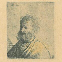 Rembrandt, etching, Bartsch b. 297, Old man with beard