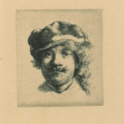 Rembrandt, etching, Bartsch B. 2, Self portrait wearing a soft cap: full face, head only