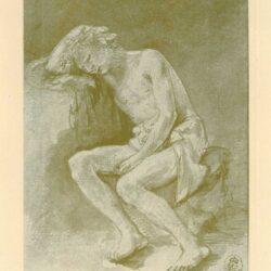 Rembrandt, tekening, hofstede de groot 273, zittend mannelijk naakt