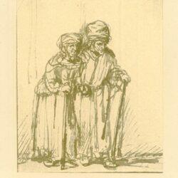 Rembrandt, tekening, hofstede de groot 265, oude man en vrouw leunend op een stok