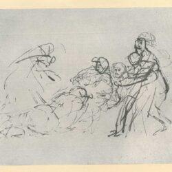 Rembrandt, zeichnung, hofstede de groot 263, Die Gefangennahme Simsons