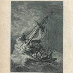 Rembrandt, tekening, Benesch 954, hofstede de groot 219, Christus in de storm op het meer van Galilea