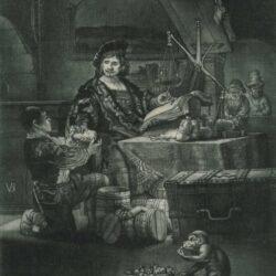 Rembrandt Etching, Bartch B. 281, Jan Uytenbogaert (1606-1684), or 'The goldweigher'