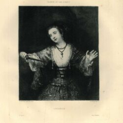 Karl Köpping etching, after Rembrandt painting, the Suicide of Lucretia; a woman holding a dagger in front of her chest, half-length in frontal view