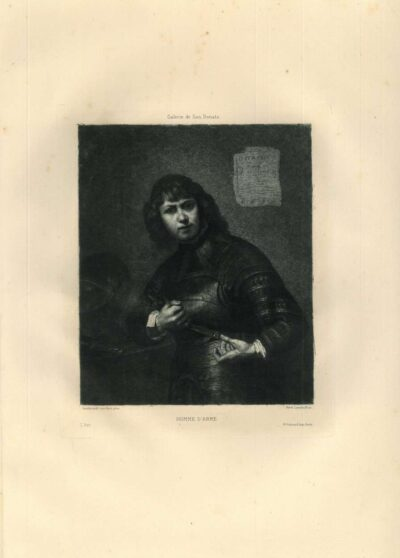 Ferdinand Leenhoff after Rembrandt: Young knight, half-length, putting his cuirass on, after Rembrandt; published in 'L'Art', 1881, volume XXIV