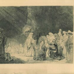 Rembrandt etching, Bartsch B. 49, Simeon's hymn of praise [The presentation in the Temple: oblong print]