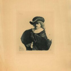Rembrandt, Etching, Bartsch B. 7, New Hollstein 90, copy e, Self portrait in a soft hat and embroidered cloak