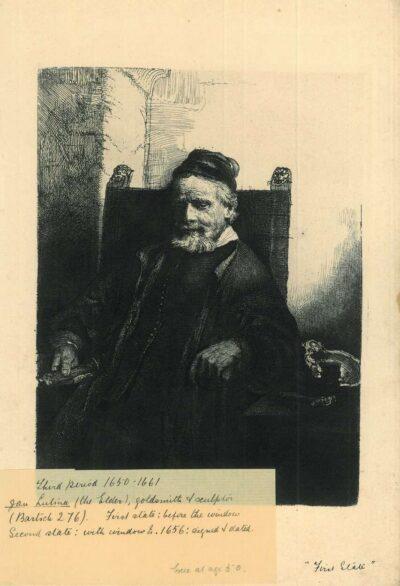 Rembrandt Etching, bartch b. 276, Jan Lutma, goldsmith (1584-1669)