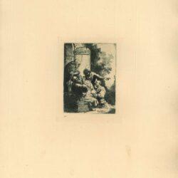 Rembrandt, etching, Bartsch B. 38, Joseph's coat brought to Jacob