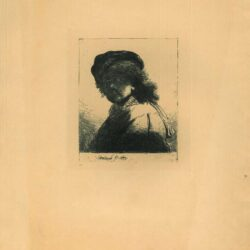 Rembrandt, etching, Bartsch B. 17, Self portrait in a cap and scarf with the face dark: bust