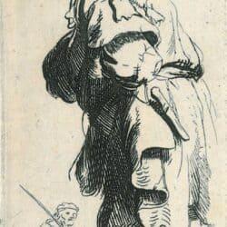 Rembrandt, Ets, Bartsch B. 177, Een boer, uitroepend 'Tis vinnich kout'