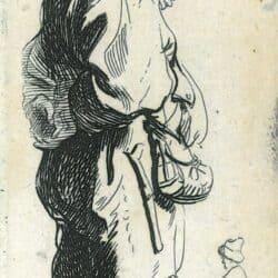 Rembrandt, etching, New Holsltein 132, copy c, Bartsch B. 178, A peasant replying 'Dats niet'