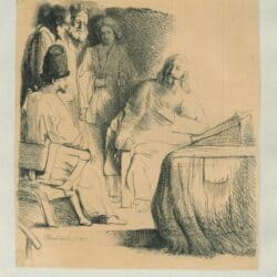 Rembrandt, drawing, Christ and Four Disciples, Three Standing and One Seated
