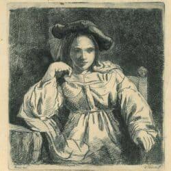Rembrandt, tekening, Nicolaes Maes, zittend meisje