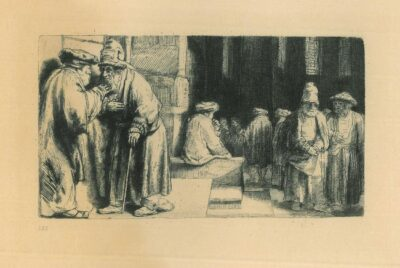 Rembrandt, Etching, Bartsch B. 126, Pharisees in the Temple [Jews in the synagogue]