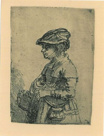 Rembrandt Etching, Bartch B. 356, Girl with a basket