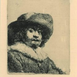 Rembrandt Etching, Bartch B. 311, Man in a broad-brimmed hat