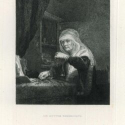 Oude vrouw met weegschaal, Etching after Rembrandt painting, possibly Rembrandt's Mother