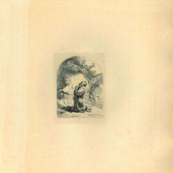 Rembrandt, Ets, Bartsch B. 101, Hieronymus in gebed: plaat met gebogen bovenrand