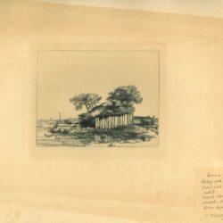 Rembrandt, Ets, Bartsch B. 232, Huisje met houten omheining