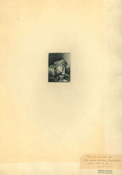 Rembrandt, Ets, Bartsch B. 350, Slapende oude vrouw