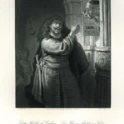 Simson bedreigt zijn schoonvader, Rembrandt