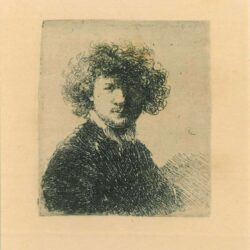 Rembrandt, etching, Bartsch b. 1, Self-portrait with curly hair and white collar: bust