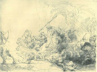 Rembrandt Etching, Bartch B. 114, The large lion hunt