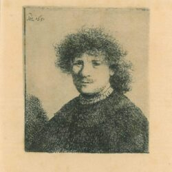 Rembrandt, etching, Bartsch b. 15, Self portrait in a cloak with a falling collar: bust