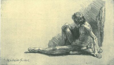 Rembrandt Etching, Bartch B. 196, Nude man seated on the ground with one leg extended