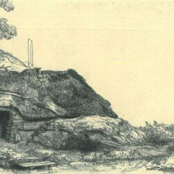 Rembrandt Etching, Bartch B. 226, Landscape with a cottage and a large tree