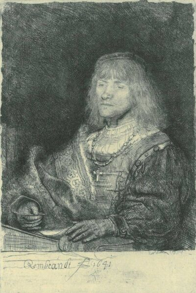 Rembrandt Etching, Bartch B. 261, Man at a desk wearing a cross and chain
