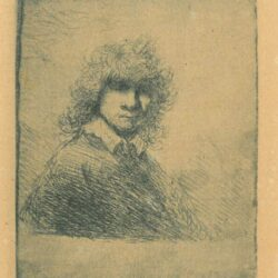 Rembrandt, etching, Bartsch b. 27, Self portrait bareheaded, with high curly hair: head and bust
