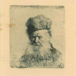 Rembrandt, etching, Bartsch b. 312, Bust of an old man with a fur cap and flowing beard, nearly full face, eyes direct