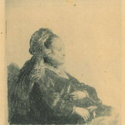 Rembrandt, etching, Bartsch b. 348, The artist's mother seated, in an oriental headdress: half-length