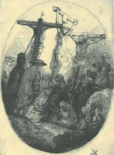Rembrandt Etching, Bartch B. 79, Christ crucified between the two thieves: an oval plate