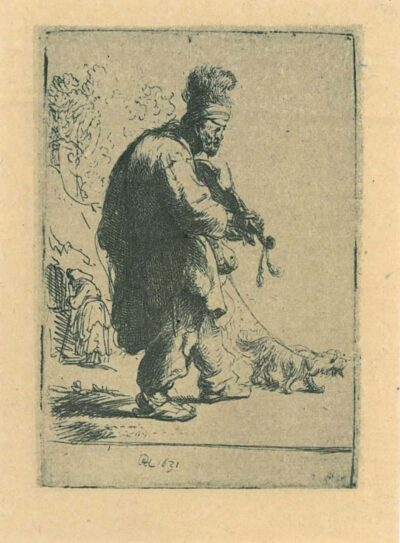 Rembrandt Etching, bartch b. The blind fiddler