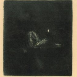 Rembrandt Etching, Bartch B.148, Student at a table by candlelight