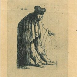 Rembrandt Etching, Bartch b. 150, Beggar with his left hand extended