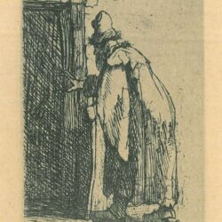 Rembrandt Etching, Bartch b. 153, The blindness of Tobit: a sketch