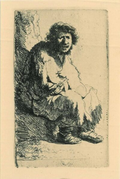 Rembrandt Etching, bartch b. 174, Beggar seated on a bank
