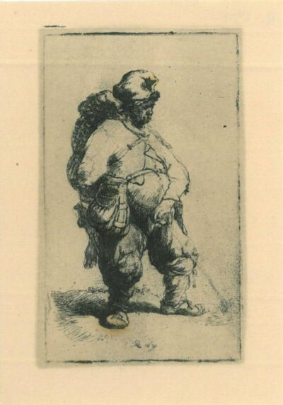 Rembrandt Etching, Bartch b. 190, A man making water
