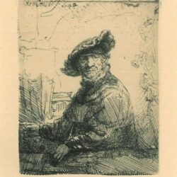 Rembrant Etching, Bartch B. 257, Man in an arbor