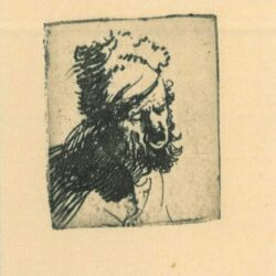 Rembrandt Etching, bartch b. 327, Head of a man in a fur cap, crying out
